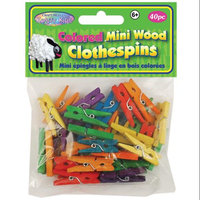 Multicraft Imports CW603 Colored Mini Clothespins 1 3-16 in. 40-Pkg