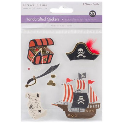 Multicraft Imports SS860-M Multicraft Handcrafted Themed 3D Stickers 4.25 in. X4.5 in. -A Pirates Life