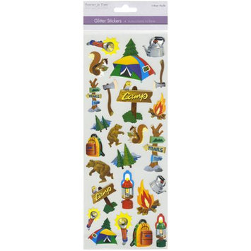 Multicraft Imports SS547-B Multicraft 4.75 in. X12 in. Glitter Stickers-Camping
