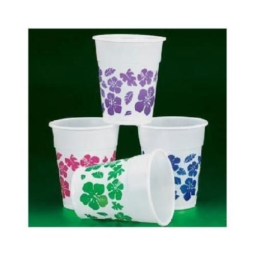 50 Plastic HIBISCUS Drink Cups LUAU PARTY Decor/TROPICAL 16 Oz Beverage - Fun Express - 34/963