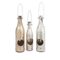 IMAX Corporation 62170-3 Paige Mercury Glass Candleholder Bottles - Set of 3