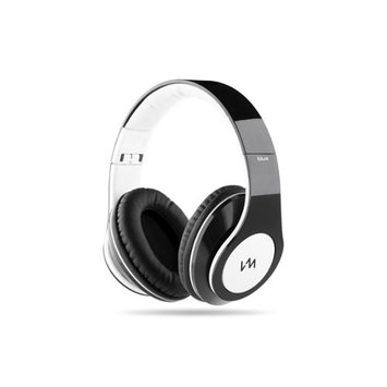 VM Audio Elux Over-Ear Hyperbass Headphones - Piano Black/White