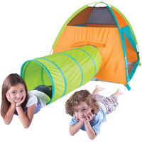 Pacific Play Tents Hide Me Tent and Tunnel Orange/Blue