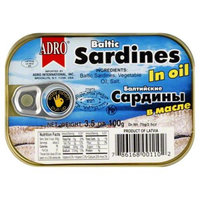 Adro Baltic Sardines in Oil, 3.5 oz, - Pack of 18