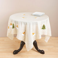 Saro Square Embroidered Holiday Table Topper