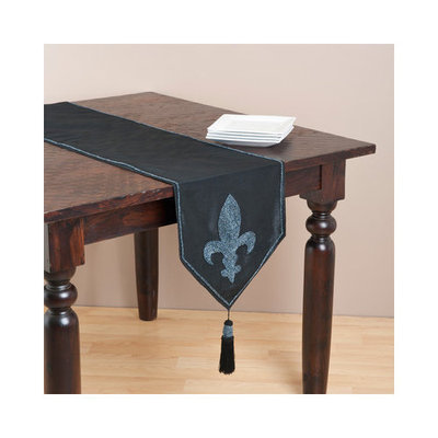 Saro 72-inch Rectangular Fleur-de-lis Table Runner