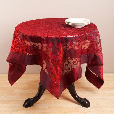 Saro Flocked Design Raisin Table Linen