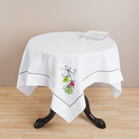 Saro Square Embroidered Christmas Table Topper