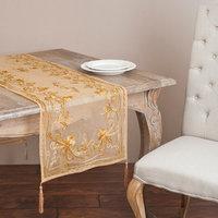 Saro 'Chenille' Mocha Floral Emrboidered Table Linen Topper or Table Runner