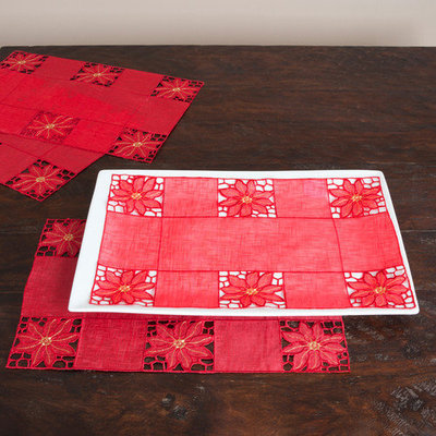 Saro Embroidered and Cutwork Traycloths/ Placemats (Set of 12)