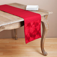 Saro Embroidered Scroll Design Table Runner