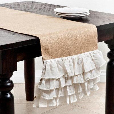 Saro Ruffle Design Jute Table Runner