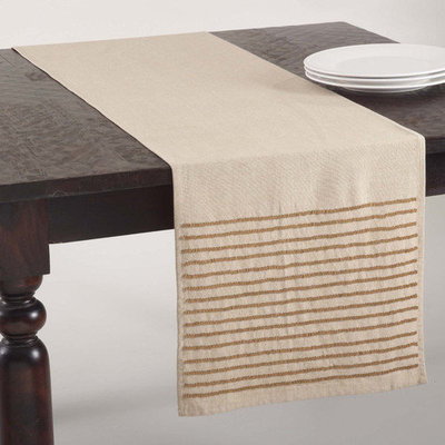 Saro Gold Beaded Design Table Runner