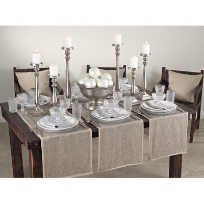 Saro Silver Beaded Design Table Runner