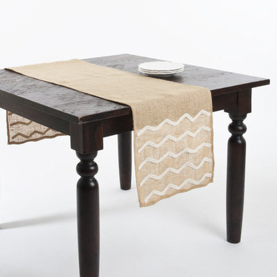 Saro Beaded Design Burlap Table Runner