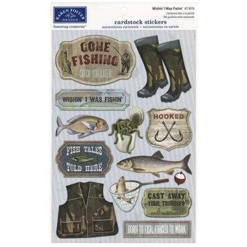 Karen Foster Fishing Cardstock Stickers 5.5X9-Wishin' I Was Fishin'