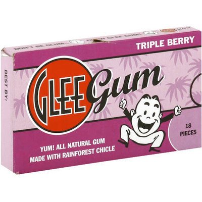 Glee Gum Triple Berry Natural Chewing Gum, 18 count, (Pack of 6)