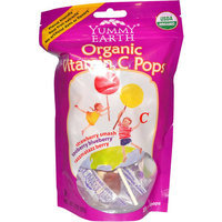 YummyEarth Organic Vitamin C Pops, 15 count, 3 oz, (Pack of 3)