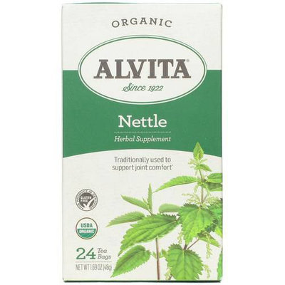 Alvita Organic Nettle Leaf Herbal Supplement Tea Bags, 24 count, 1.69 oz, (Pack of 3)