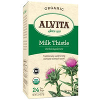 Alvita Organic Milk Thistle Herbal Supplement Tea, 24 count, 2.54 oz, (Pack of 3)