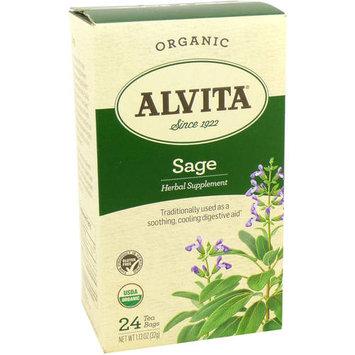 Alvita Organic Sage Herbal Supplement Tea, 24 count, 1.13 oz, (Pack of 3)