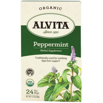 Alvita Organic Peppermint Herbal Supplement Tea, 24 count, 1.27 oz, (Pack of 3)