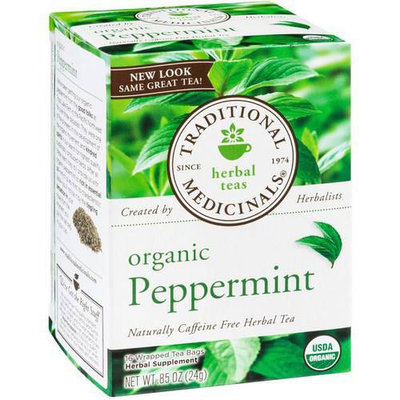 Traditional Medicinals Organic Peppermint Herbal Supplement Tea, 16 count, .85 oz, (Pack of 3)