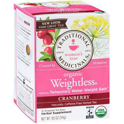 Traditional Medicinals Organic Weightless Cranberry Herbal Supplement Tea, 16 count, .85 oz, (Pack of 3)