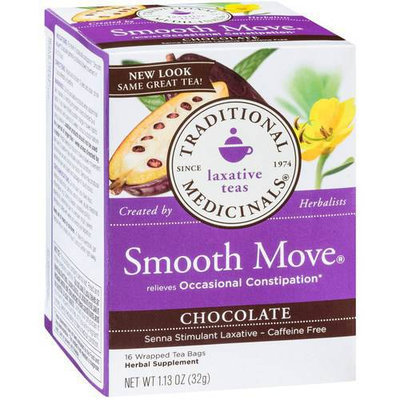 Traditional Medicinals Smooth Move Chocolate Herbal Supplement Tea, 16 count, 1.13 oz, (Pack of 3)