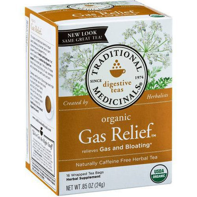 Traditional Medicinals Organic Gas Relief Herbal Supplement Tea, 16 count, .85 oz, (Pack of 3)