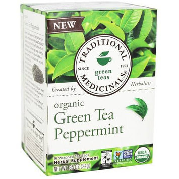 Traditional Medicinals Peppermint Green Tea Bags, 16 count, (Pack of 3)