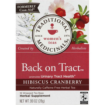 Traditional Medicinals Back on Tract Hibiscus Cranberry Tea Bags, 16 count, (Pack of 3)