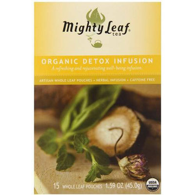 Mighty Leaf Tea Organic Detox Infusion Herbal Artisan Whole Leaf Tea Pouches, 15 count, 1.59 oz, (Pack of 3)
