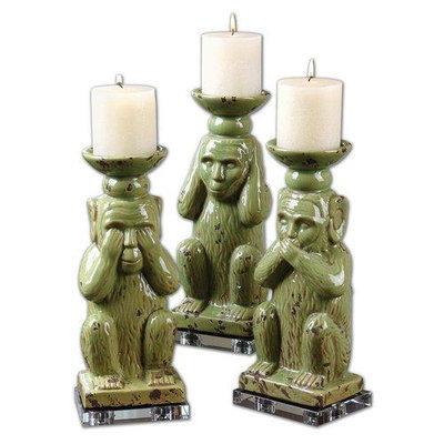 Uttermost 19864 Toma Ceramic Monkey Candleholders, Set of Three