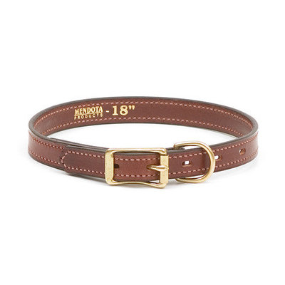 Mendota Wide Leather Dog Collar 18in x 1in