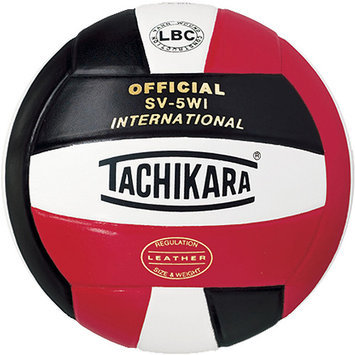 Tachikara SV5WI. SWN International Competition Premium Leather Volleyball - Scarlet-White-Navy