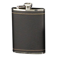 Bey-berk Stainless Steel / Black Leather Flask, 8 Oz, Fs318