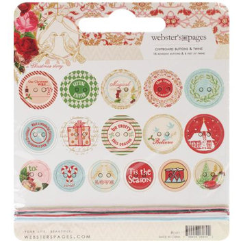 Webster's Pages Webster ft. s Pages CB11 A Christmas Story Self-Adhesive Chipboard Buttons 16-Pkg-With 6 Feet Of Twine