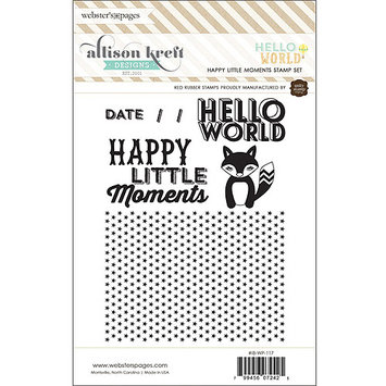 Webster's Pages Hello World Red Rubber Stamps-Happy Little Moments