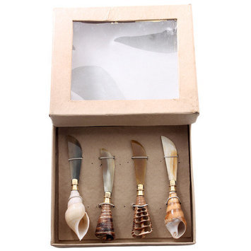 Foreign Affairs Home Decor Spreading Knives Set Of 4 - Shell Handle