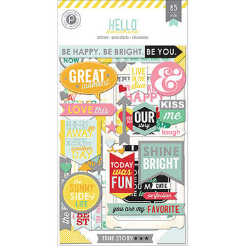 Pink Paislee PP01251 Hello Sunshine Chipboard Stickers Flip Pack 3-Sheets-Frames Word Art & Shapes