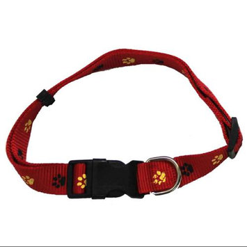 Iconic Pet 91867 Paw Print Adjustable Safety Dog Collar - Red - Small