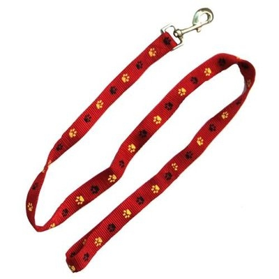 Iconic Pet 91875 Paw Print Dog Leash - Red - Small
