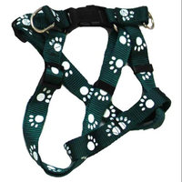 Iconic Pet 91881 Paw Print Adjustable Dog Safety & Soft Walking Harness - Green - Medium