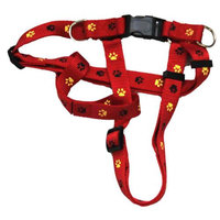 Iconic Pet 91886 Paw Print Adjustable Dog Safety & Soft Walking Harness - Red - Large