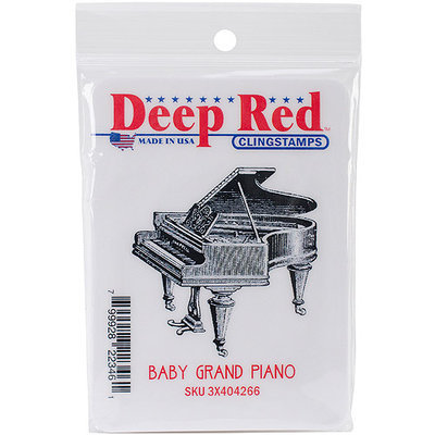 Deep Red Stamps 3X404266 Deep Red Cling Stamp 2 in. x 2 in-Piano Baby Grand