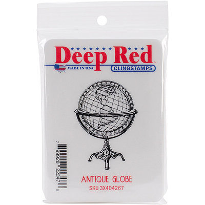 Deep Red Stamps 3X404267 Cling Stamp-Antique Globe
