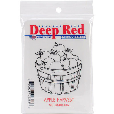 Deep Red Stamps 3X404435 Cling Stamp-Apple Harvest