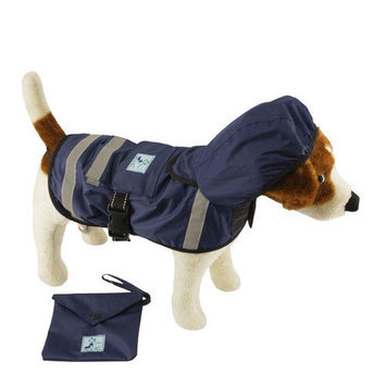 One4pets Safety Hooded Raincoat - Size: 14 L, Color: Green
