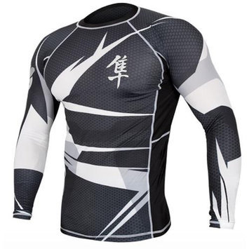 Hayabusa Metaru 47 Silver Long Sleeve Rashguard - Medium - Black/White